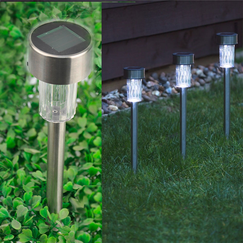 Outdoor Landscape Lighting Garden Post : Powered stainless steel led post lights garden outdoor rechargeable